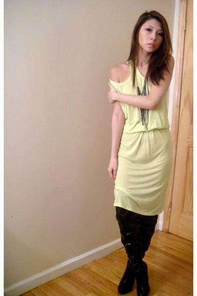 yellow Alexander Wang dress - black thigh high shoes