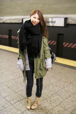 green MinkPink jacket - beige shoes - blue jeans - gray urbanoutfitters sweater
