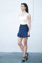 navy H&M skirt - black Alexander Wang heels - eggshell ballet tank blush top