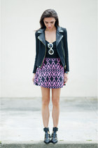 dark gray moto jacket Zara jacket - Prada sunglasses - hot pink Motel skirt
