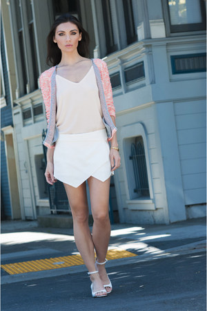 Zara skirt - Peach Chiffon Tank top - LEATHER ANKLE STRAP SANDAL sandals