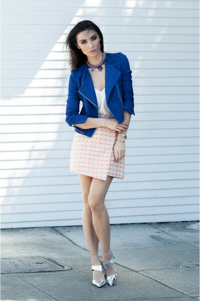 Asos Cobalt Boucle Jacket jacket - Asos Jacquard Mini Wrap Skirt skirt