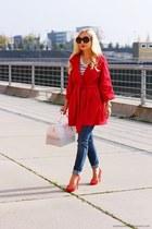 red coat - blue jeans - white Furla bag - black Prada sunglasses - red heels
