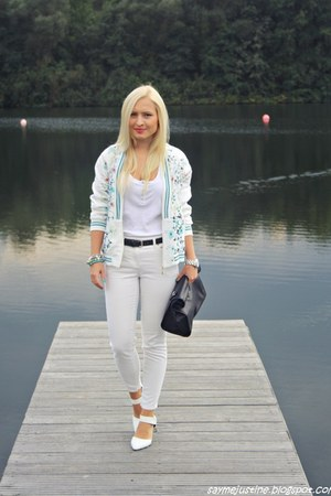 white shoes - white jacket - black Zara bag - silver Marc by Marc Jacobs watch