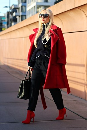 navy sweater - red shoes - red coat - black Prada bag - black sunglasses