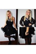 black DIY dress - black new look shoes - black SH shirt - black Primark tights