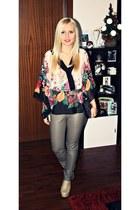 cream Allegropl shoes - tan New Yorker leggings - neutral H&M blouse