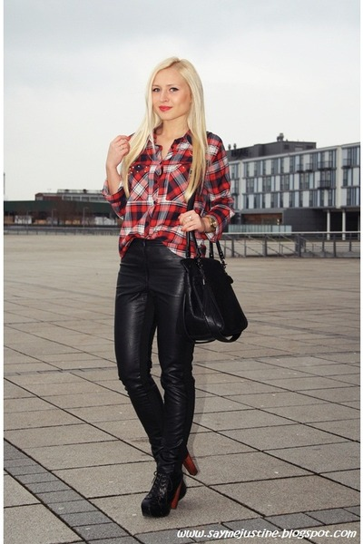 red Primark shirt - black bag - black H&M pants