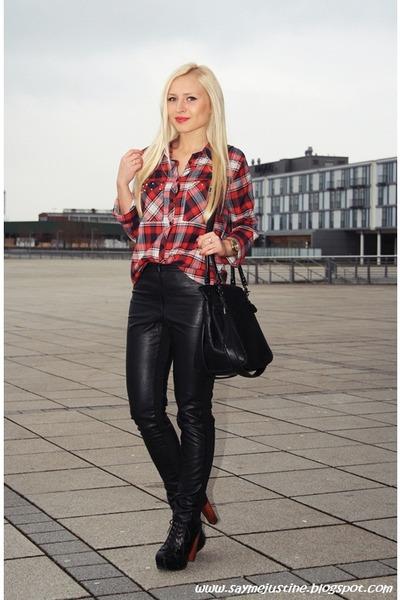 red Primark shirt - black bag - black H&M pants