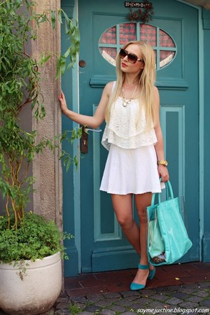 gold necklace - turquoise blue shoes - sky blue bag - brown Givenchy sunglasses