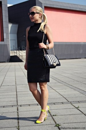 black bag - gold Guess watch - black H&M skirt - yellow heels