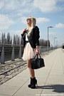 Black-mango-jacket-light-pink-primark-skirt-white-reserved-t-shirt