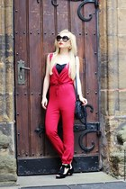 black bag - black sunglasses - black sandals - ruby red suit - gold watch