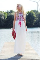 white dress - hot pink bag - gold watch - white wedges