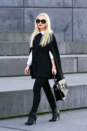 black boots - white shirt - black bag - black sunglasses - black cape