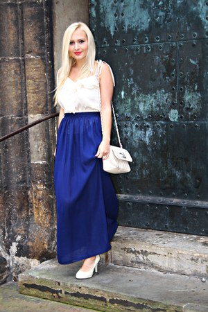 navy DIY skirt - cream H&M blouse - cream Allegropl heels