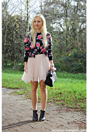 black shoes - black bag - light pink skirt - black sweatshirt - silver watch