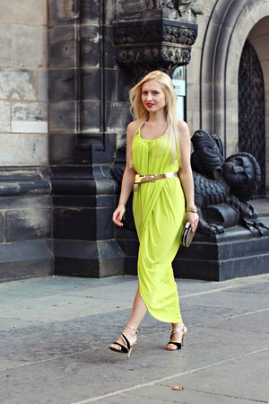 gold belt - chartreuse dress - black bag - black sandals - gold bracelet