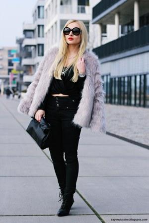 heather gray coat - black boots - black bag - black sunglasses - black pants