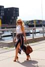 Bronze-zara-bag-bronze-bag-blue-pants-white-top-brown-sandals