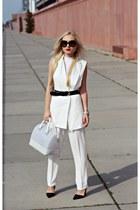 white bag - black shoes - black Prada sunglasses - black Hugo Boss belt