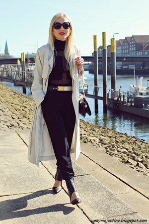 black bag - off white coat - black sunglasses - black pants - black heels