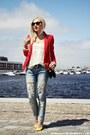 Sky-blue-mango-jeans-red-mango-blazer