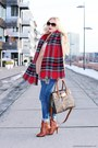 Bronze-boots-nude-coat-blue-jeans-red-scarf-bronze-sunglasses
