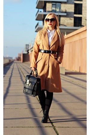 camel coat - black shoes - white shirt - black bag - black sunglasses