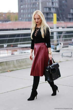 brick red skirt - black shoes - black coat - black bag - black blouse