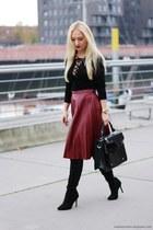midi skirt & lace up blouse