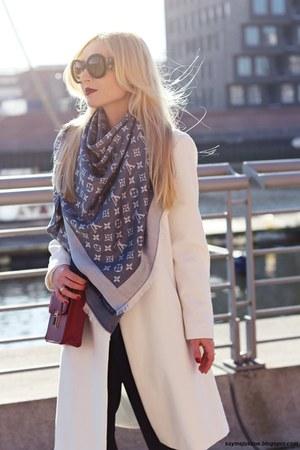 white coat - blue Louis Vuitton scarf - brick red bag - black Prada sunglasses