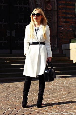black shoes - white coat - black bag - black sunglasses - black belt