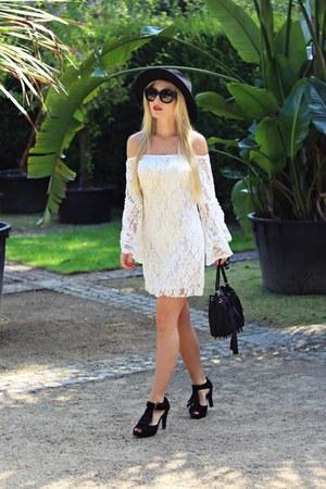black shoes - white dress - black hat - black bag - black sunglasses