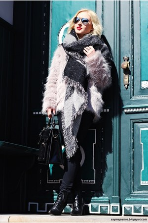 black shoes - heather gray coat - gray scarf - black bag - silver sunglasses