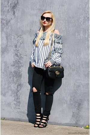 black jeans - black Gucci bag - black sunglasses - black heels - white blouse