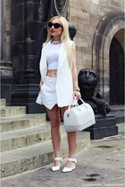 white shoes - white Furla bag - white shorts - white vest - white top