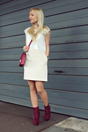 brick red shoes - ivory dress - brick red H&M bag