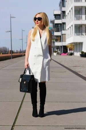 gold watch - black shoes - white dress - black bag - black sunglasses