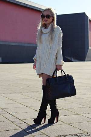 cream sweater - black boots - black bag - bronze sunglasses - gold watch