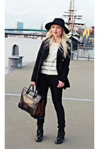 black boots - black coat - black hat - black bag - ivory top - black pants