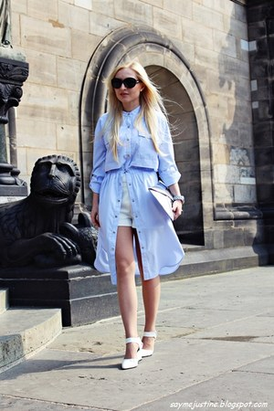 white shoes - light blue dress - silver bag - white shorts - black sunglasses