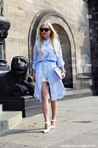 white shoes - light blue dress - silver bag - white shorts - black sunglasses