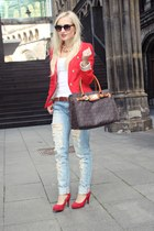 red Mango blazer - light blue jeans - brown Michael Kors bag