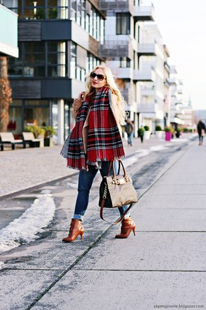bronze boots - nude coat - blue jeans - red scarf - bronze sunglasses