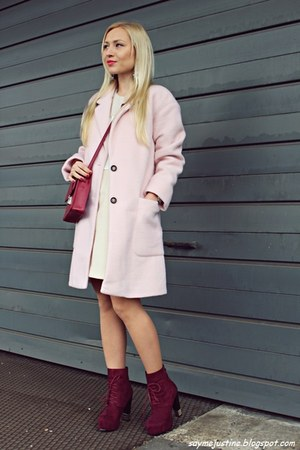 light pink coat - brick red boots - ivory dress - ruby red bag