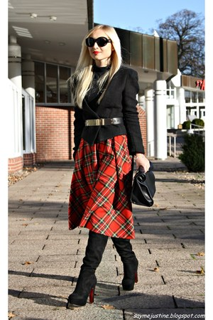 black shoes - black blazer - black bag - red skirt