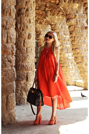 brown Michael Kors bag - carrot orange H&M dress - brown Givenchy sunglasses