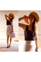 straw hat no brand hat - bamboo bag Gucci bag - cat shoes Zara heels
