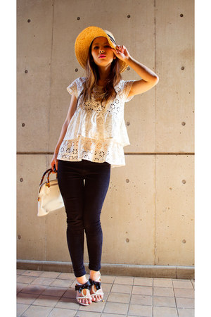 ivory lace top rowlys farm blouse - ivory Gucci bag - black tony bianco heels